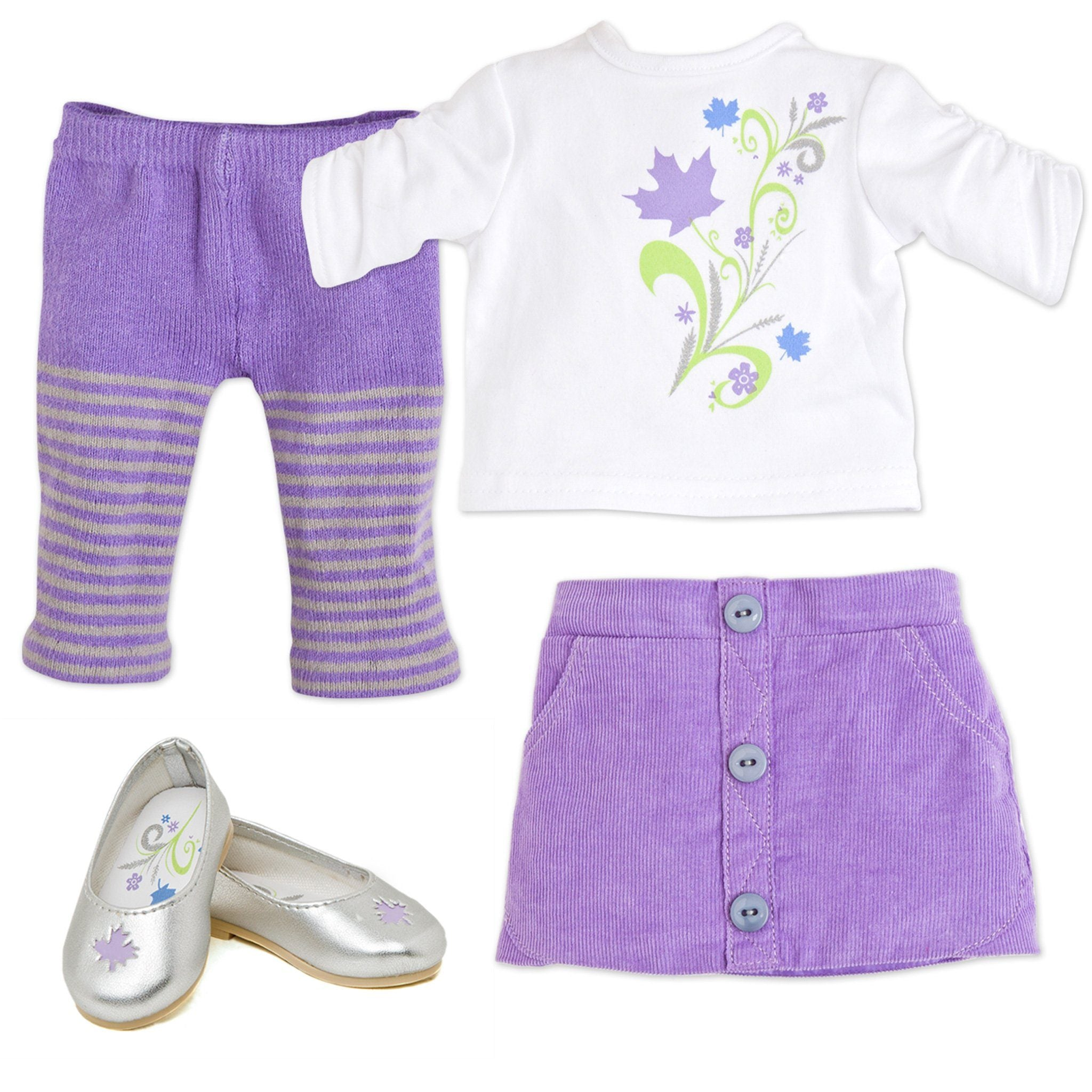 Maplelea Friend 18 inch doll starter outfit purple corduroy skirt, white ruched sleeve shirt with leaf graphic, purple striped tights, silver ballet flats with maple leaf cutout. Fits all 18 inch dolls.