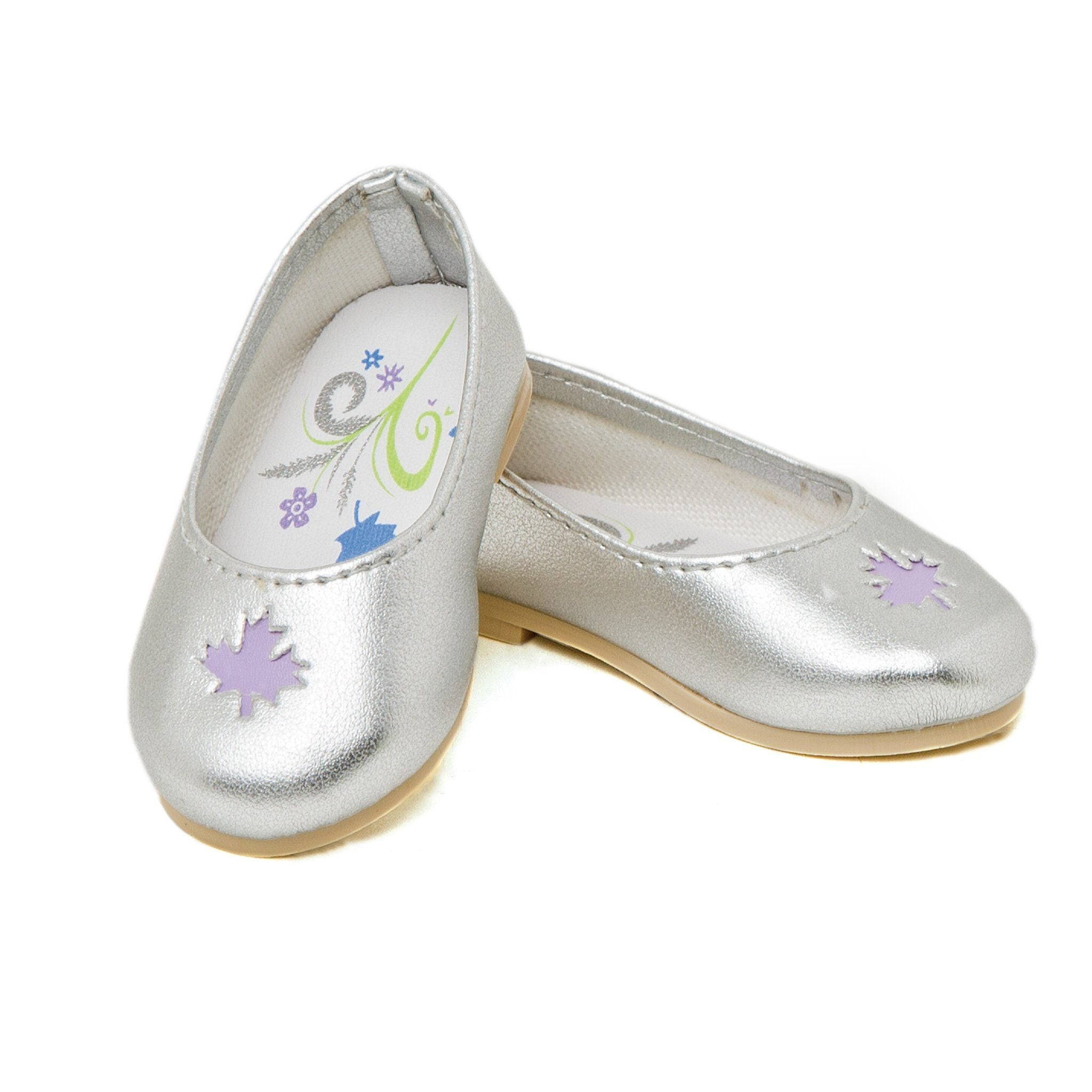 Maplelea Friend 18 inch doll starter outfit silver ballet flats with maple leaf cutout. Fits all 18 inch dolls.