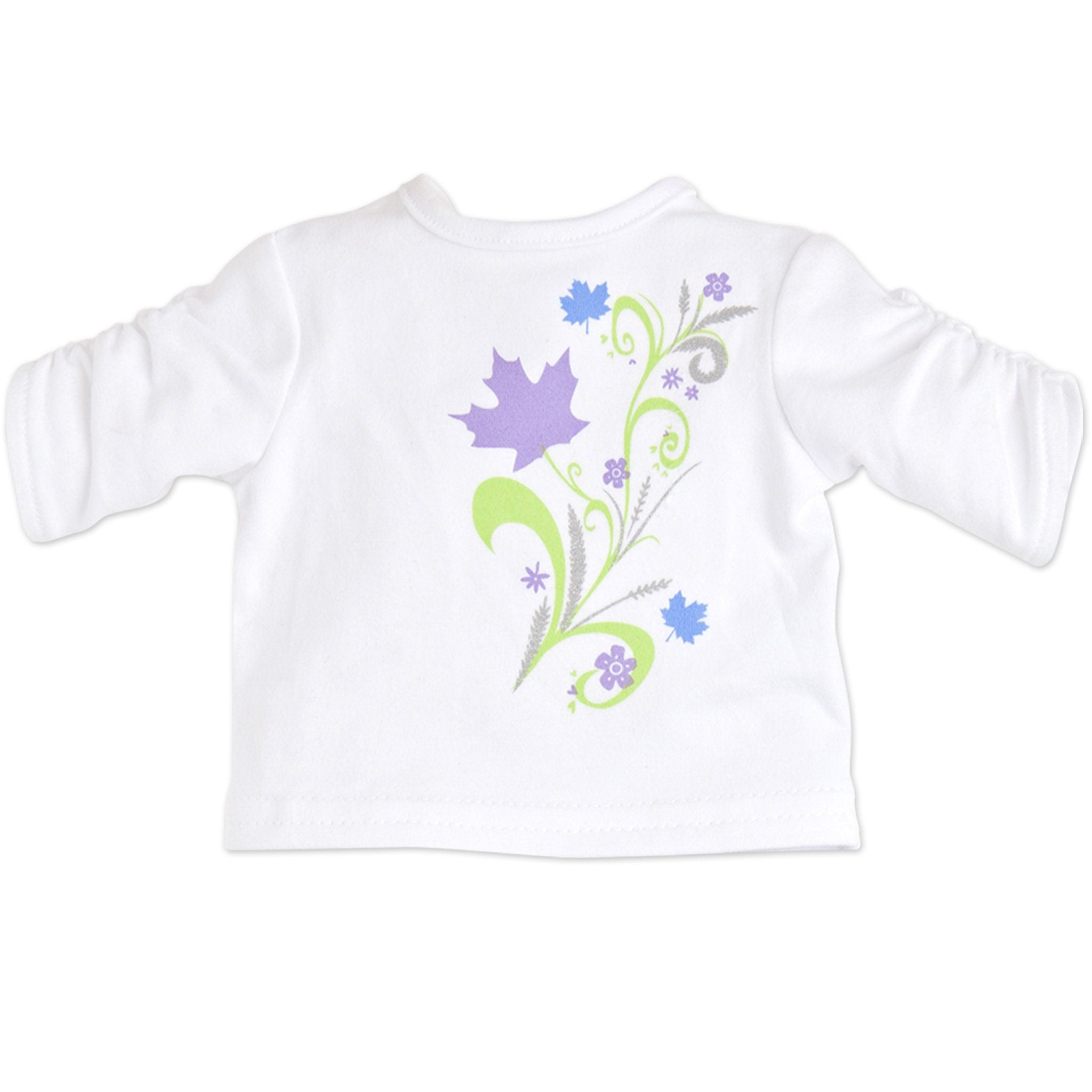 White ruched sleeve shirt with leaf graphic fits all 18 inch dolls.