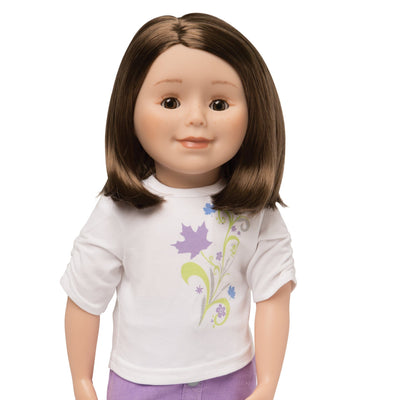 KMF25 Maplelea Friend 18 inch doll with shoulder-length brown hair, light skin, brown eyes and freckles