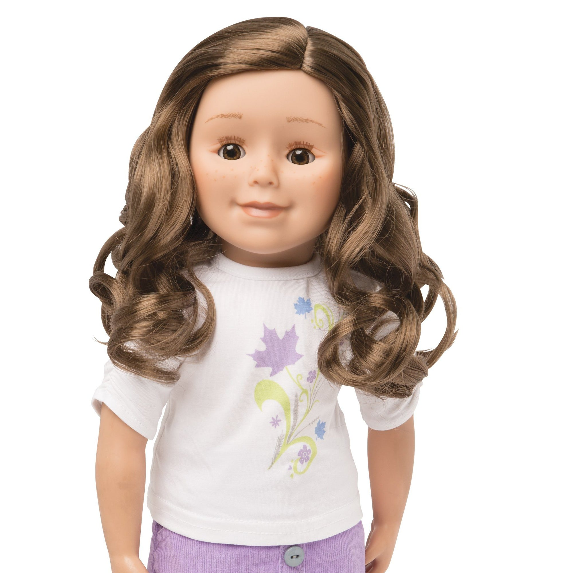 KMF27 Maplelea Friend 18 inch doll with long brown curly hair, medium-light skin, brown eyes and freckles