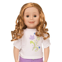 KMF28 Maplelea Friend 18 inch doll with long curly red-blonde hair, light skin, brown eyes, freckles
