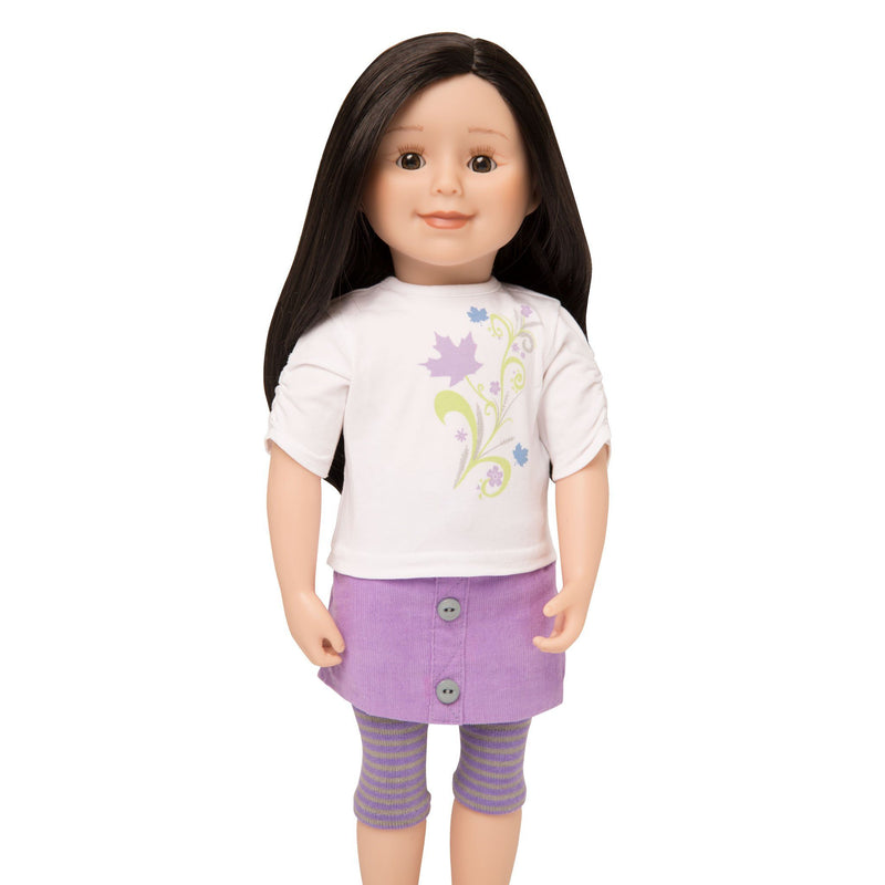 KMF30 Maplelea Friend 18 inch doll with long black-brown hair, light skin, brown eyes