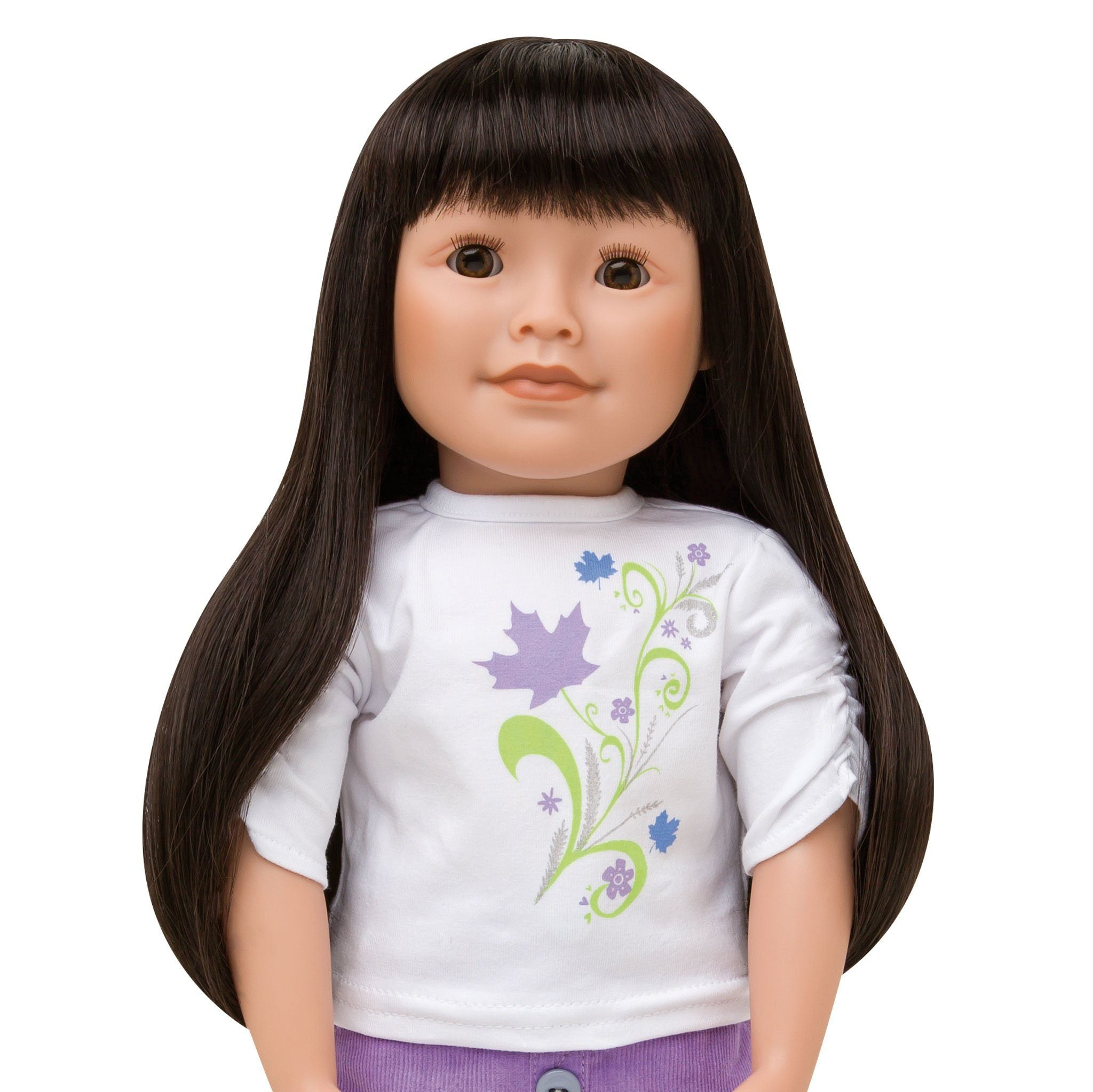 KMF9 Maplelea Friend 18 inch doll with long dark brown hair with bangs, medium-light skin, brown almond-shaped eyes