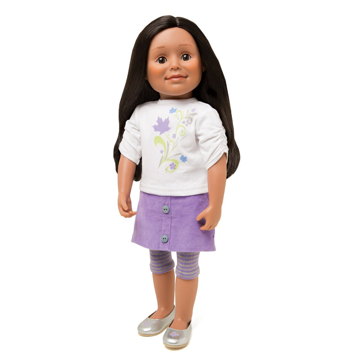 Maplelea Friend 18 inch doll with long layered dark brown hair, medium skin and brown eyes.