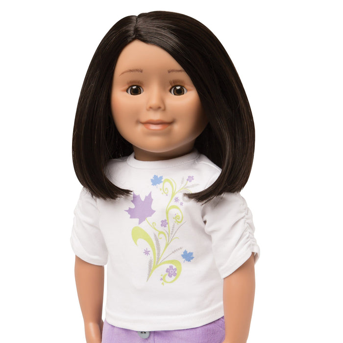 KMF24 Maplelea Friend 18 inch doll with shoulder-length black-brown hair, medium skin and brown eyes