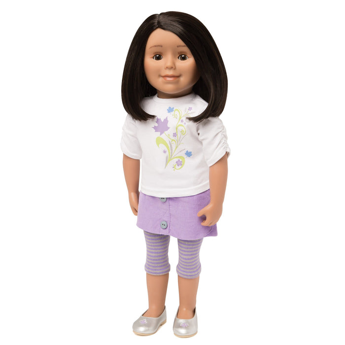 KMF24 Maplelea Friend 18 inch doll with shoulder-length black-brown hair, medium skin and brown eyes.