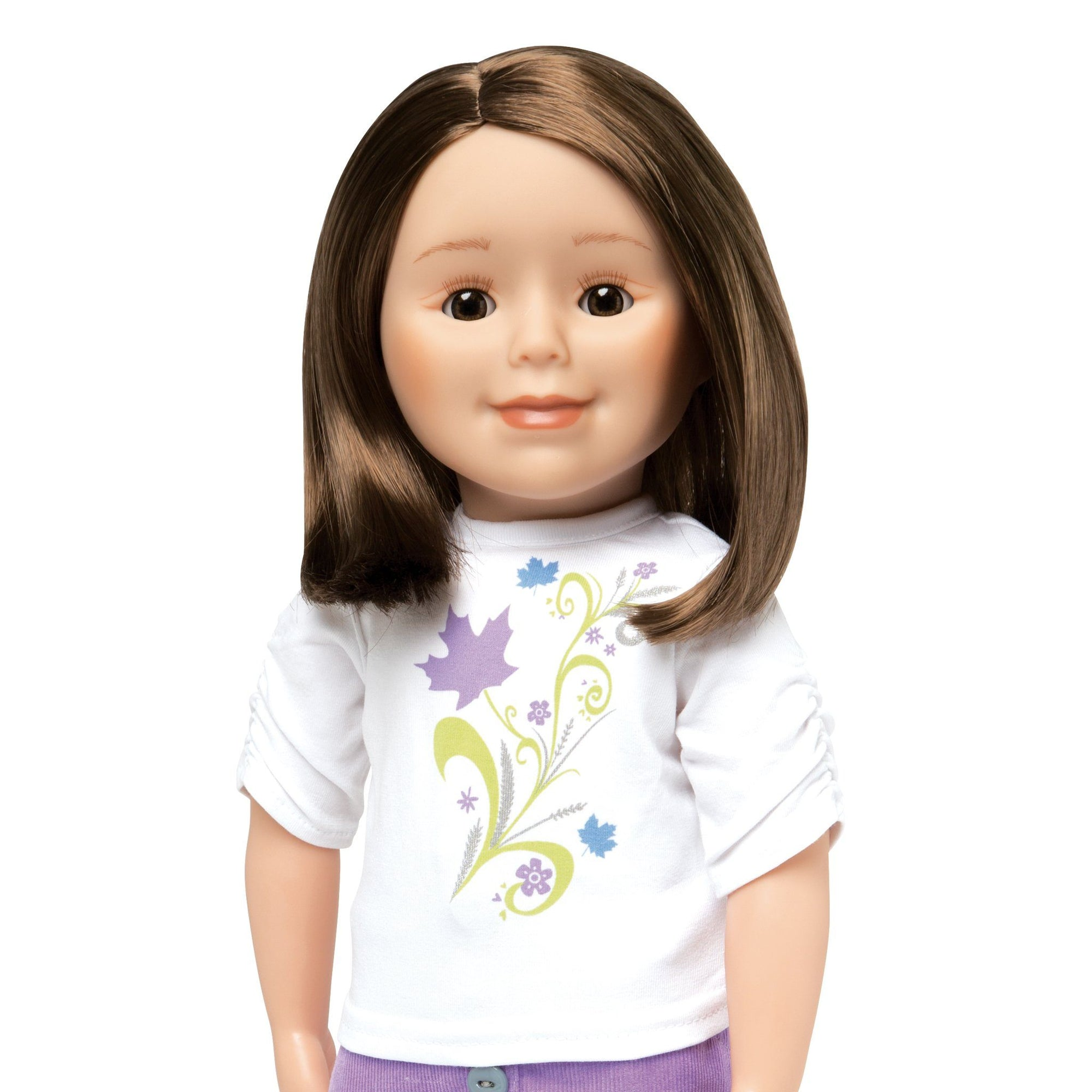 KMF23 Maplelea Friend 18 inch doll with shoulder-length brown hair, light skin and brown eyes.