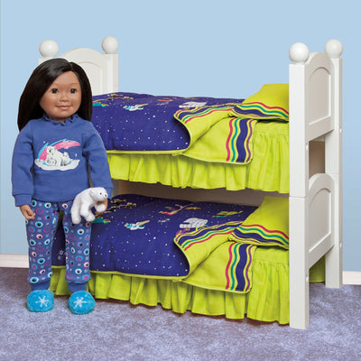 Two Maplelea doll beds stacked to make bunk beds.  Shown with Maplelea doll and bedding.