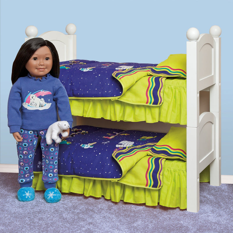 White wooden doll bed for 18 inch dolls.  Part of Maplelea's doll furniture collection.