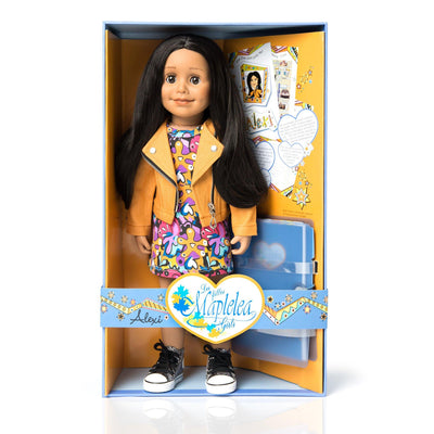 Maplelea 18 inch doll Alexi in moto jacket, print dress, metallic runners in box with story journal