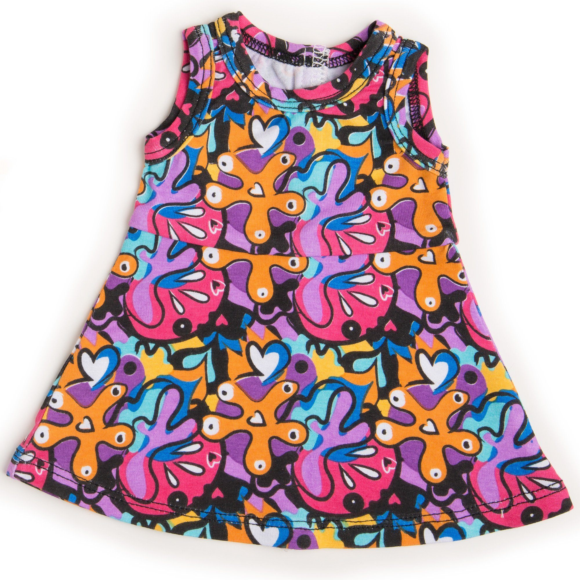 Maplelea 18 inch doll Alexi starter outfit - graffiti print dress