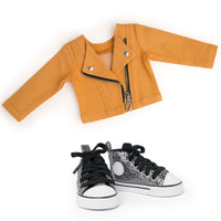 Maplelea 18 inch doll Alexi starter outfit - orange moto jacket and metallic runners