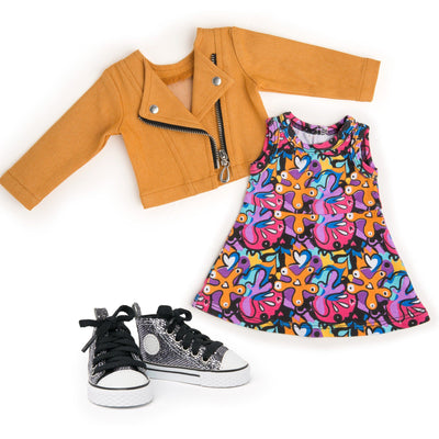 Maplelea 18 inch doll Alexi starter outfit - orange moto jacket, print dress and metallic runners