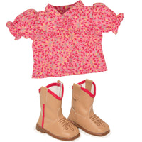 Maplelea 18 inch doll Brianne's starter outfit pink patterned button-up shirt and beige riding boots with red detail.