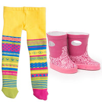 Maplelea 18 inch doll Charlsea starter outfit - funky tights and pink rain boots.