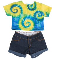 Maplelea 18 inch doll Charlsea starter outfit -  tie-dyed t-shirt, jean shorts.