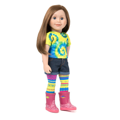 Maplelea 18 inch doll Charlsea with story journal wearing tie-dyed t-shirt, jean shorts, funky tights and pink rain boots.