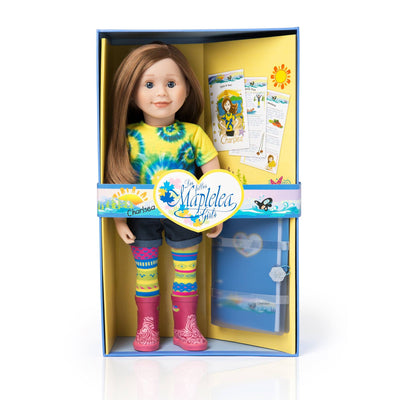 Maplelea 18 inch doll Charlsea with story journal wearing tie-dyed t-shirt, jean shorts, funky tights and pink rain boots. Shown in box.