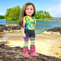 "Maplelea 18"" doll Charlsea with tie-dyed t-shirt, cut-offs, funky tights, rain boots in BC scene."