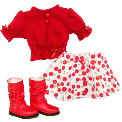 Red sweater with buttons, print skirt and red boots for 18 inch doll Canadian Girl Leonie.