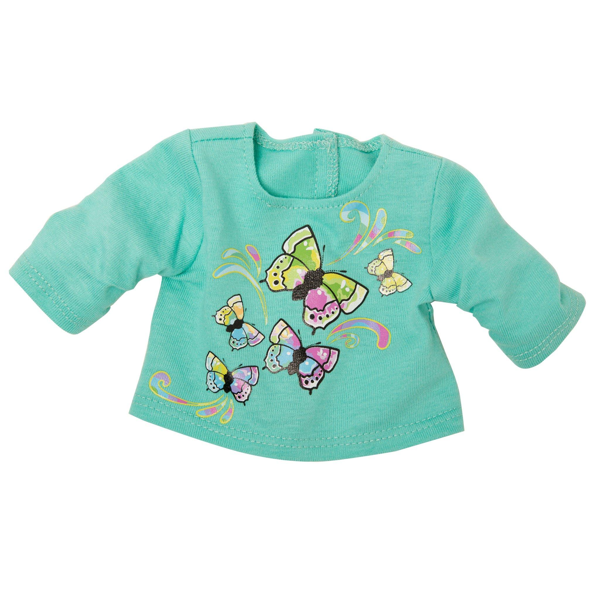 Maplelea 18 inch doll Taryn's green butterfly graphic t-shirt.