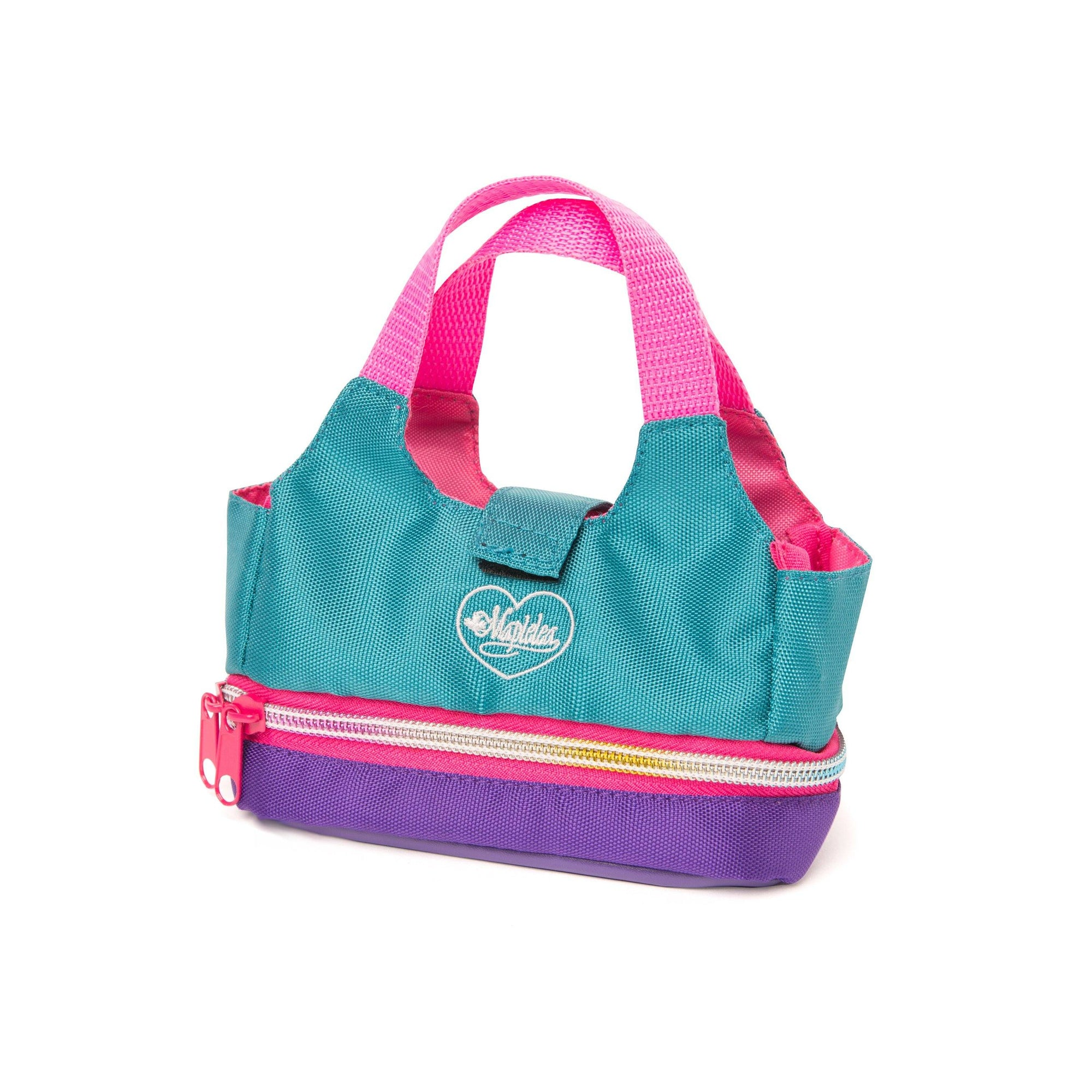 Mini tote for doll in teal, pink and green with Maplelea embroidered logo. Fits all 18 inch dolls.