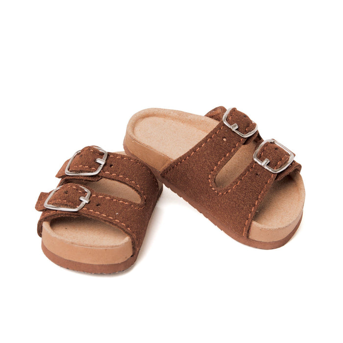 Brown double buckle summer sandals fit all 18 inch dolls.