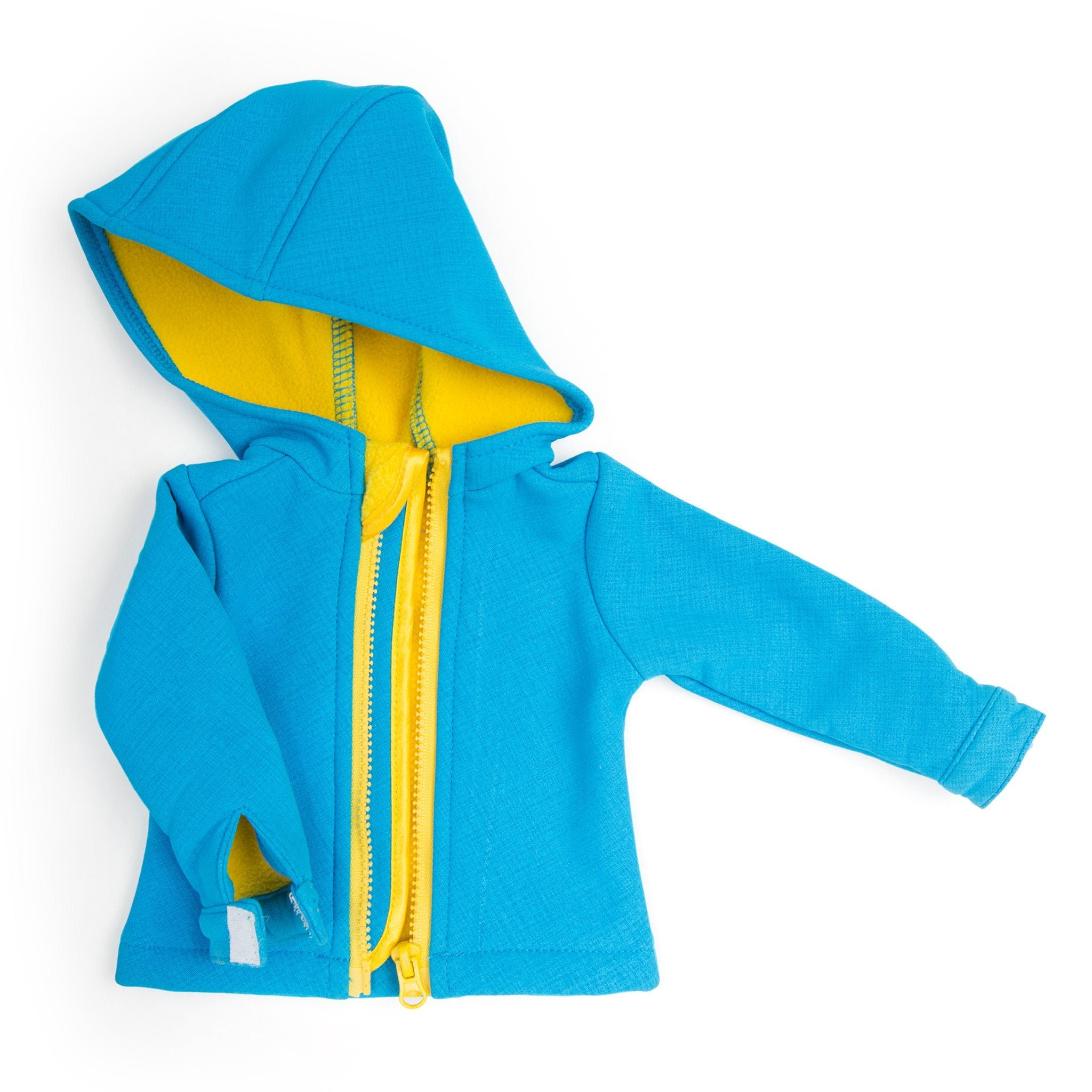 Blue rain jacket with yellow lining fits all 18 inch dolls.