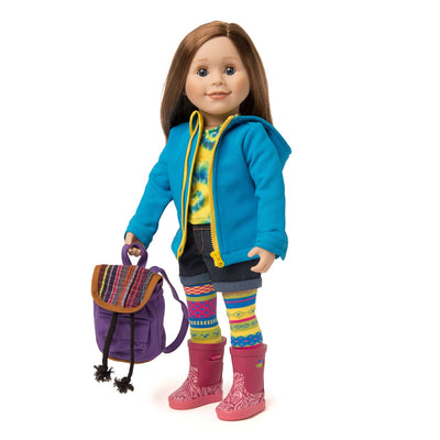 Rain jacket and backpack worn by 18 inch doll.