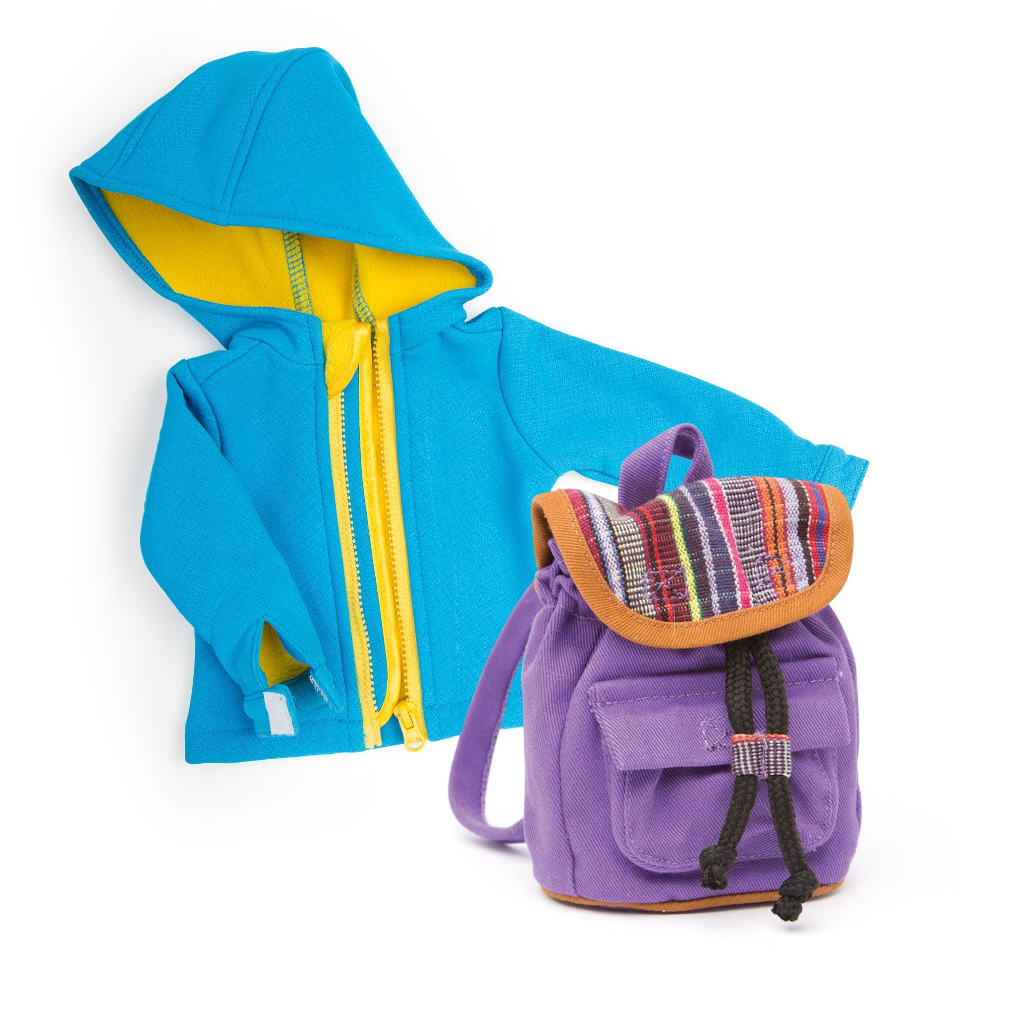 Rain coat and rucksack for 18 inch dolls.