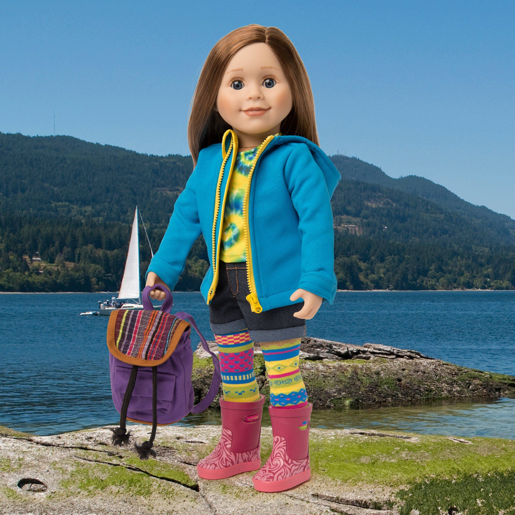 Rain jacket and backpack worn by 18 inch doll in British Columbia Canada.