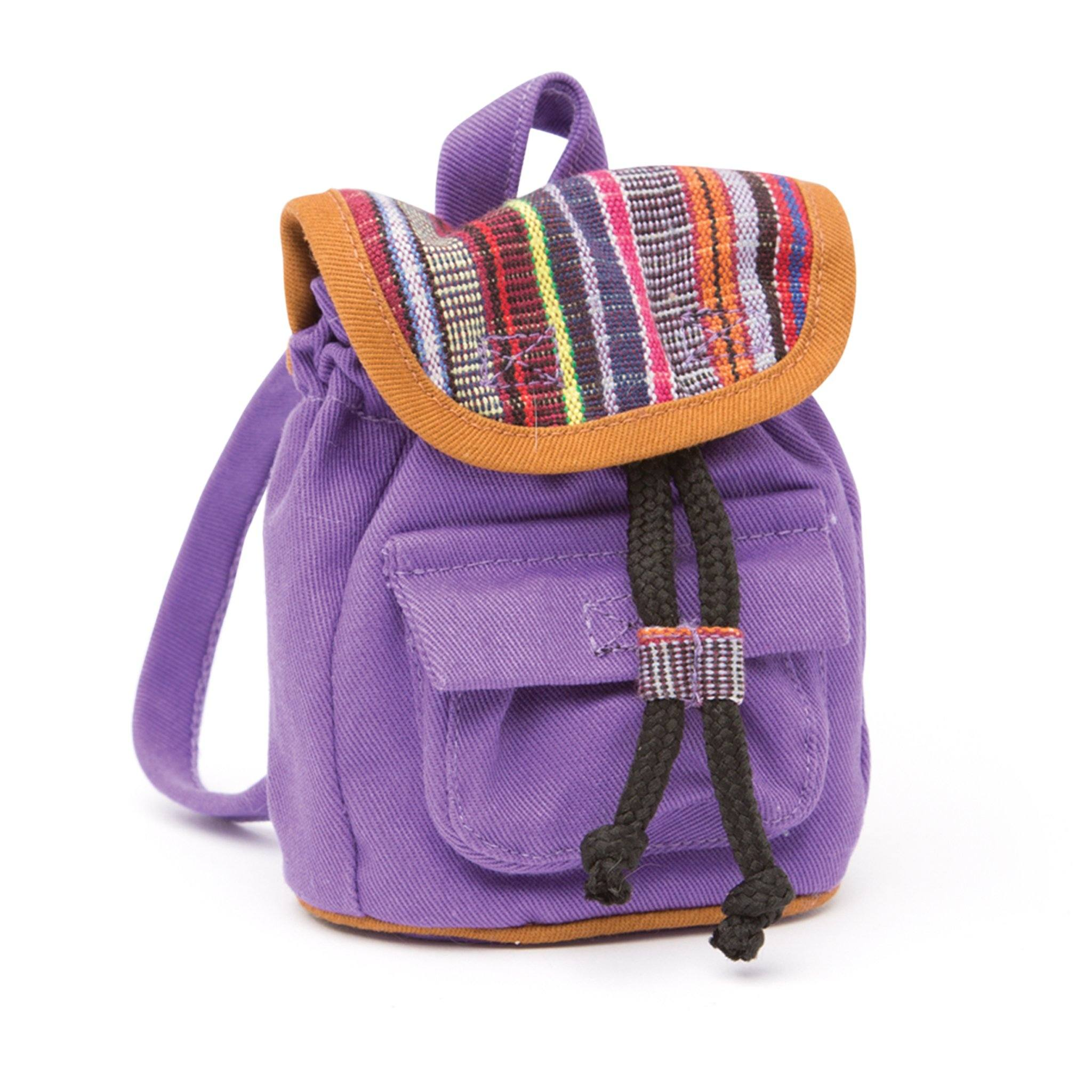 Purple and tapestry backpack for 18 inch dolls.