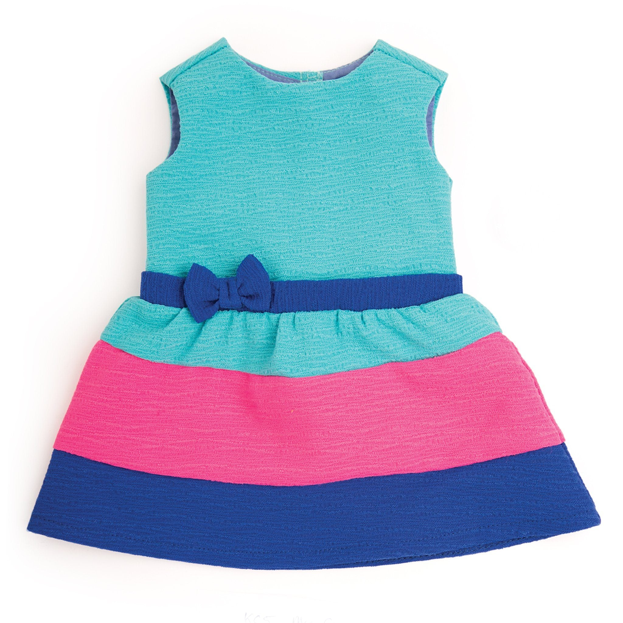 My cup of tea bright colourblock teal, royal blue and pink dress fits all 18 inch dolls.
