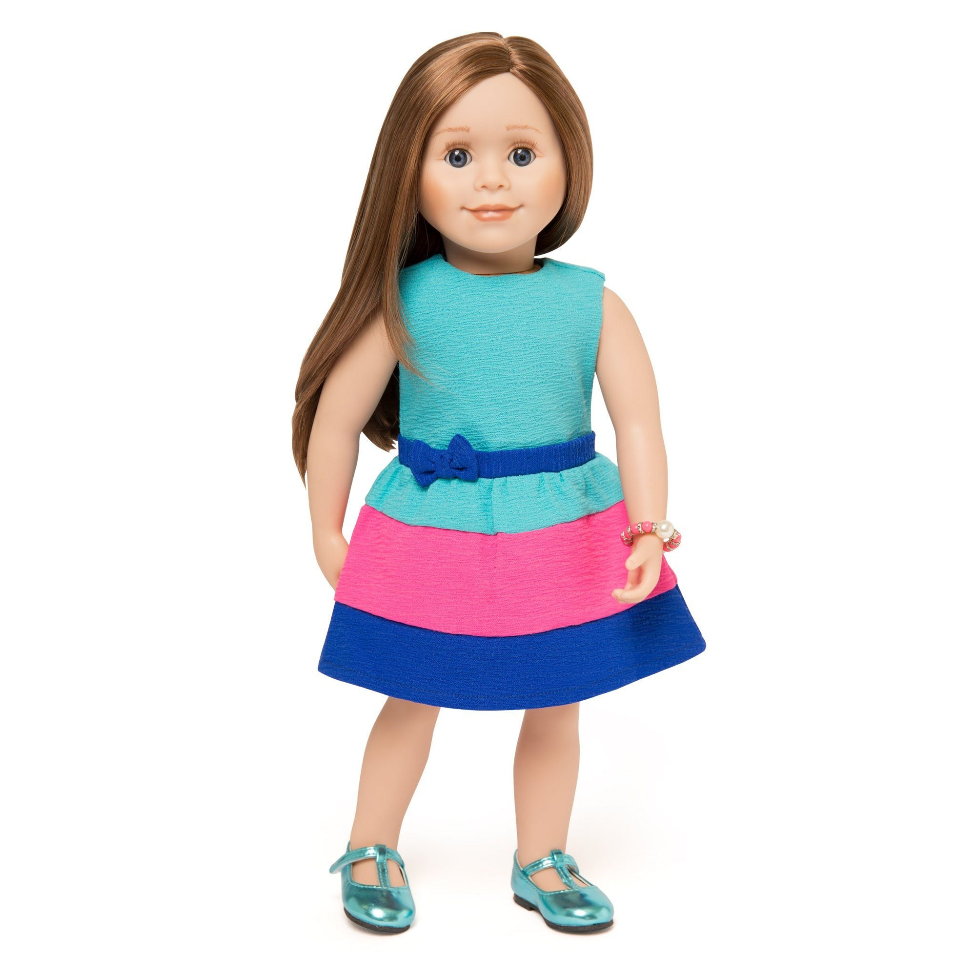 Colourblock summer dress with bracelet and blue shoes on 18 inch doll by Maplelea.