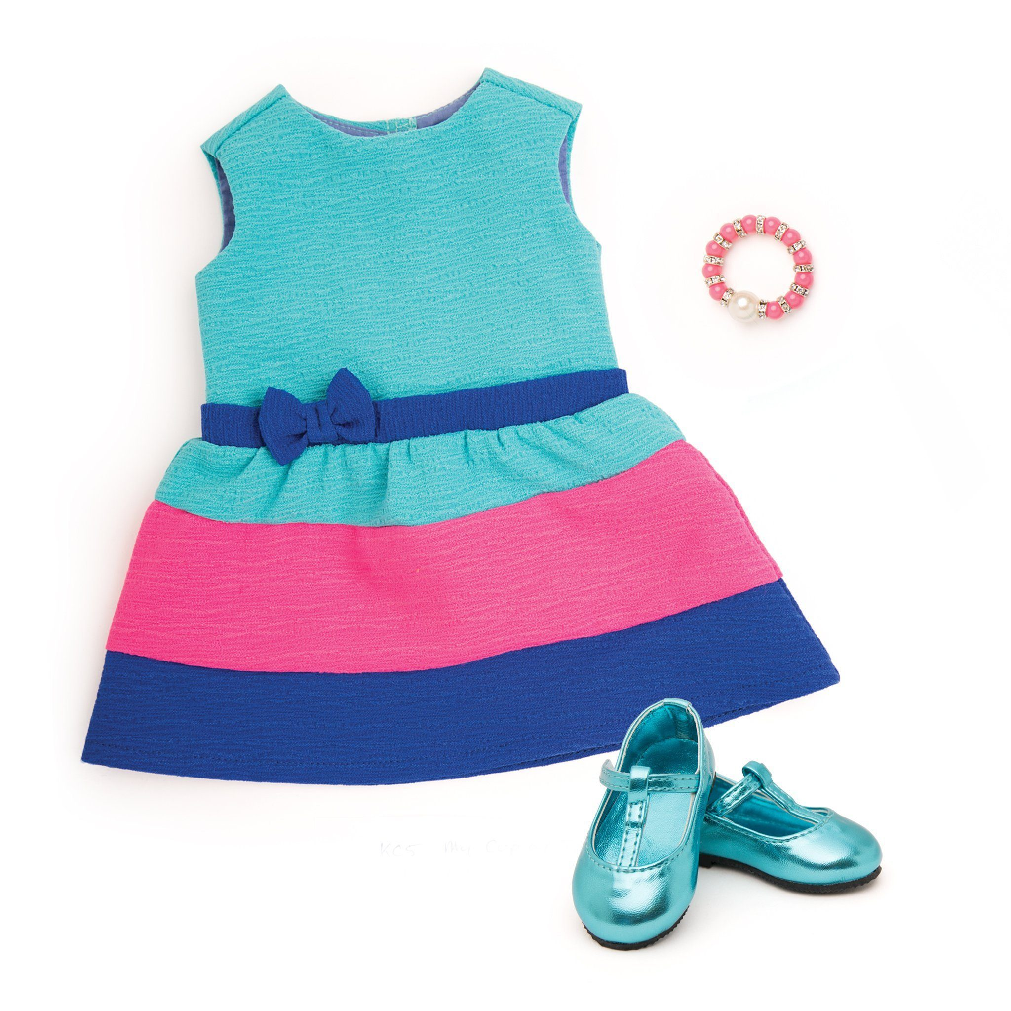 Summer tea party dress with t-strap teal shoes and beaded pink bracelet fits all 18 inch dolls.