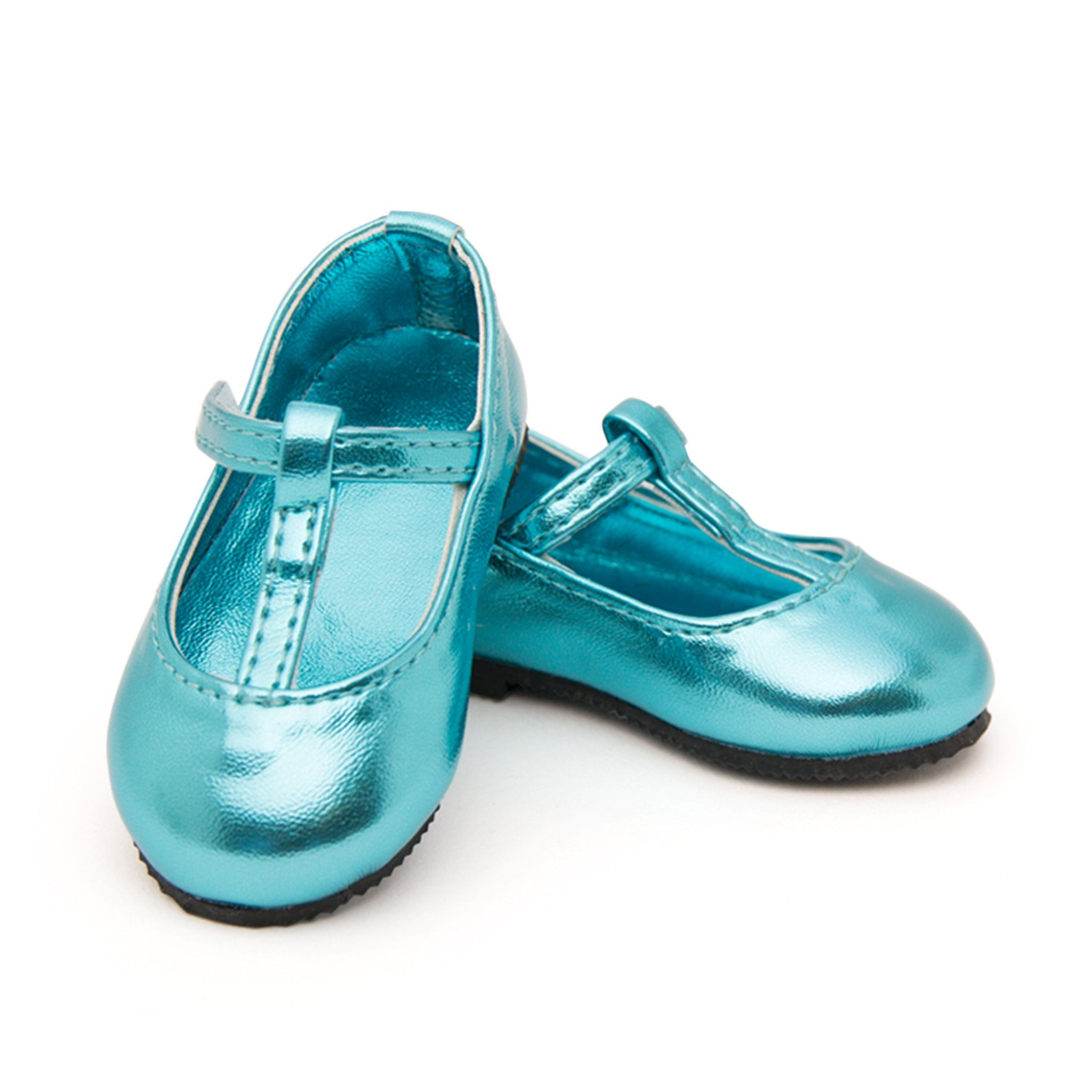 My cup of tea shiny t-strap teal shoes fits all 18 inch dolls.
