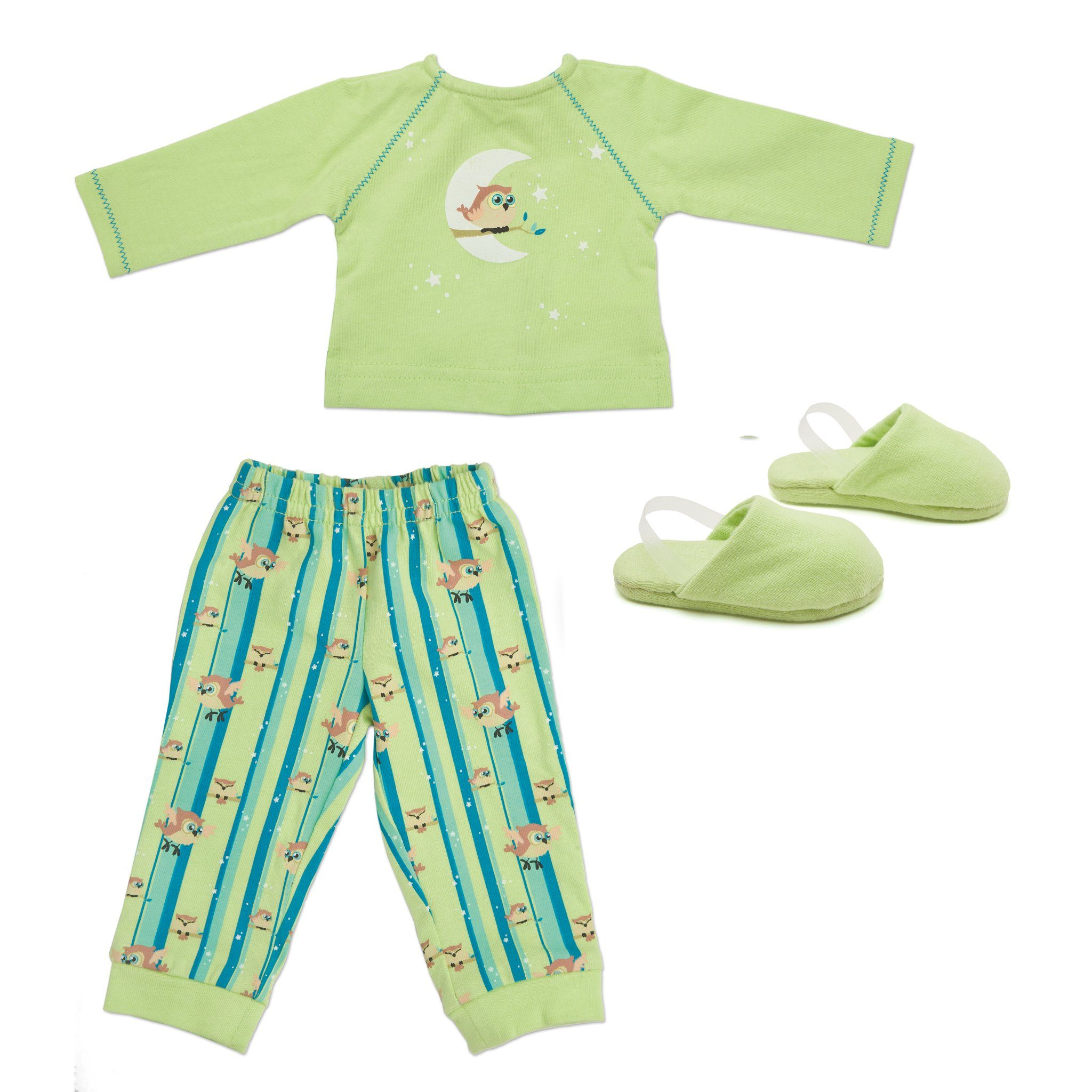 Night Owl Nightwear for 18 inch dolls includes two piece pajamas with owl graphic and slippers.