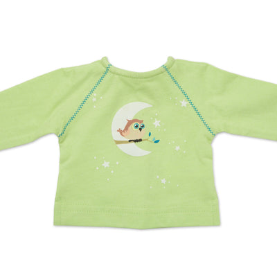 Night Owl Nightwear green llong sleeved shirt with owl graphic fits all 18 inch dolls.