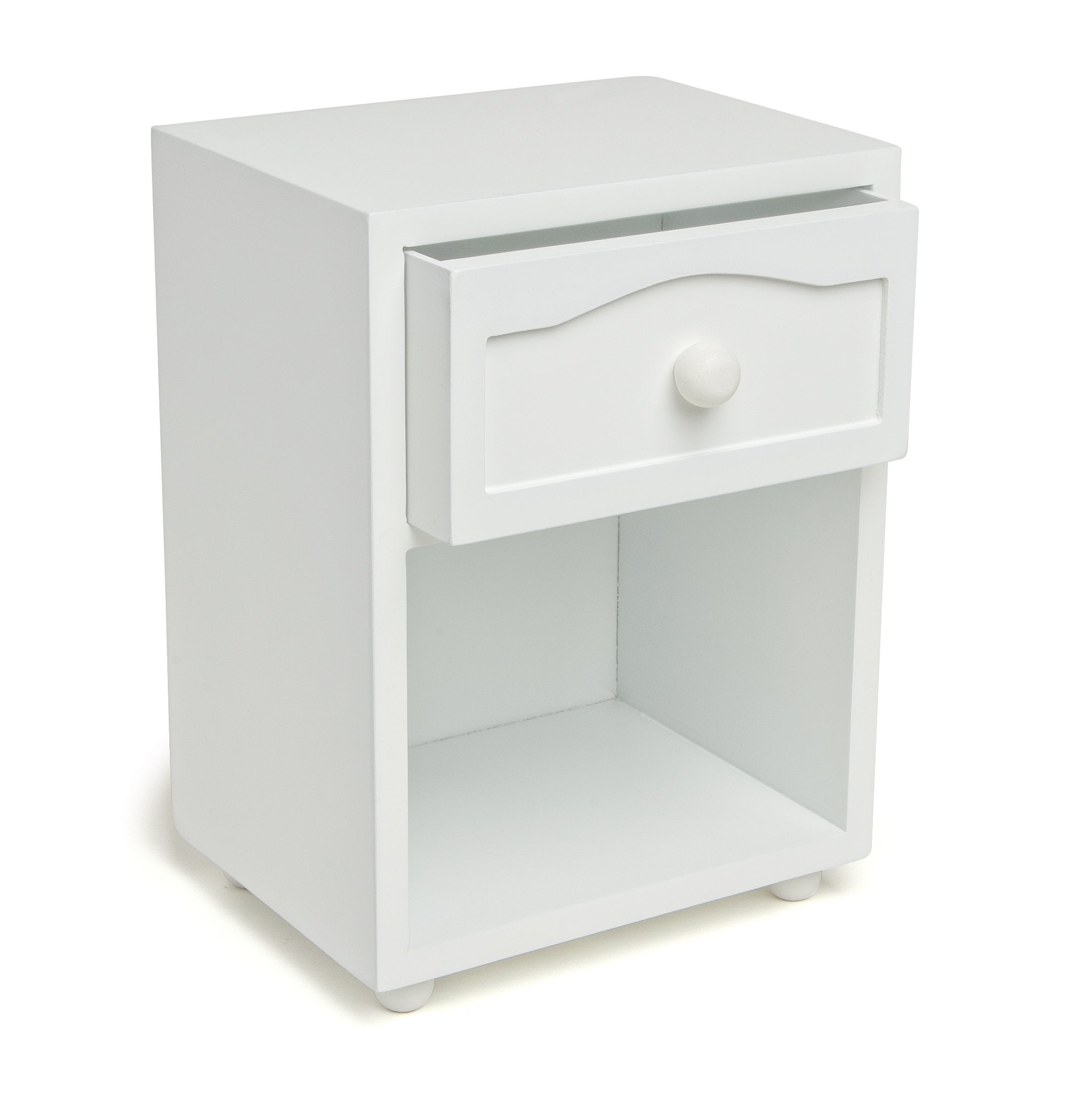 White night table with shelf and drawer for all 18 inch dolls.