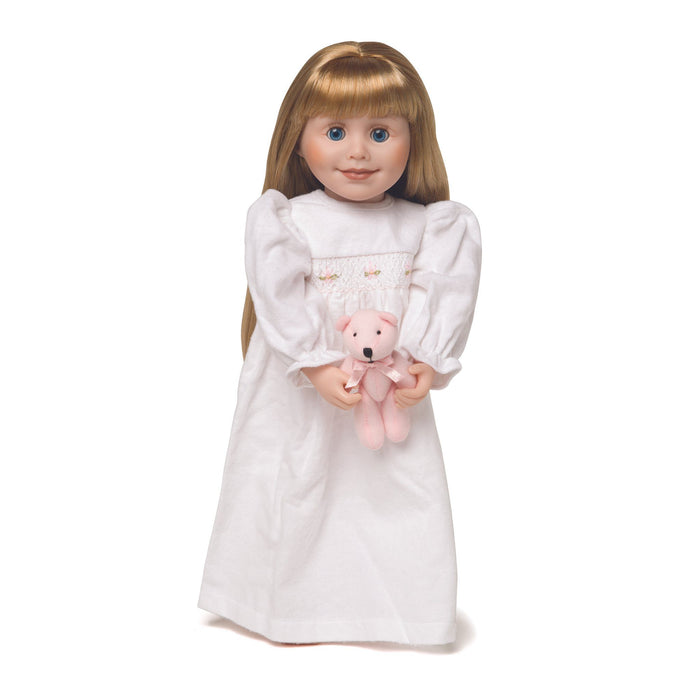 Nightie Night white flannel nightgown with pink teddy bear on 18 inch doll Brianne.