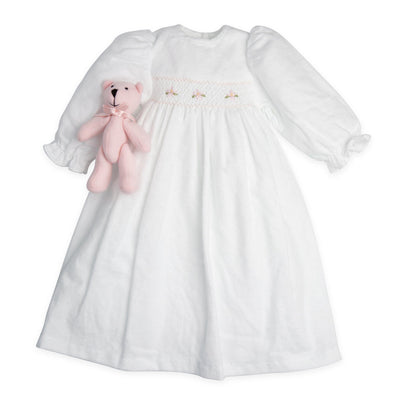 Nightie Night white flannel nightgown with pink teddy bear fits all 18 inch dolls.