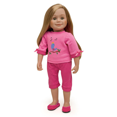 Nightingale Nightwear two-piece pajama set with slippers shown on 18 inch doll Léonie.