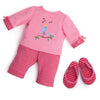 Nightingale Nightwear two-piece pajama set with striped matching slippers fits all 18 inch dolls.