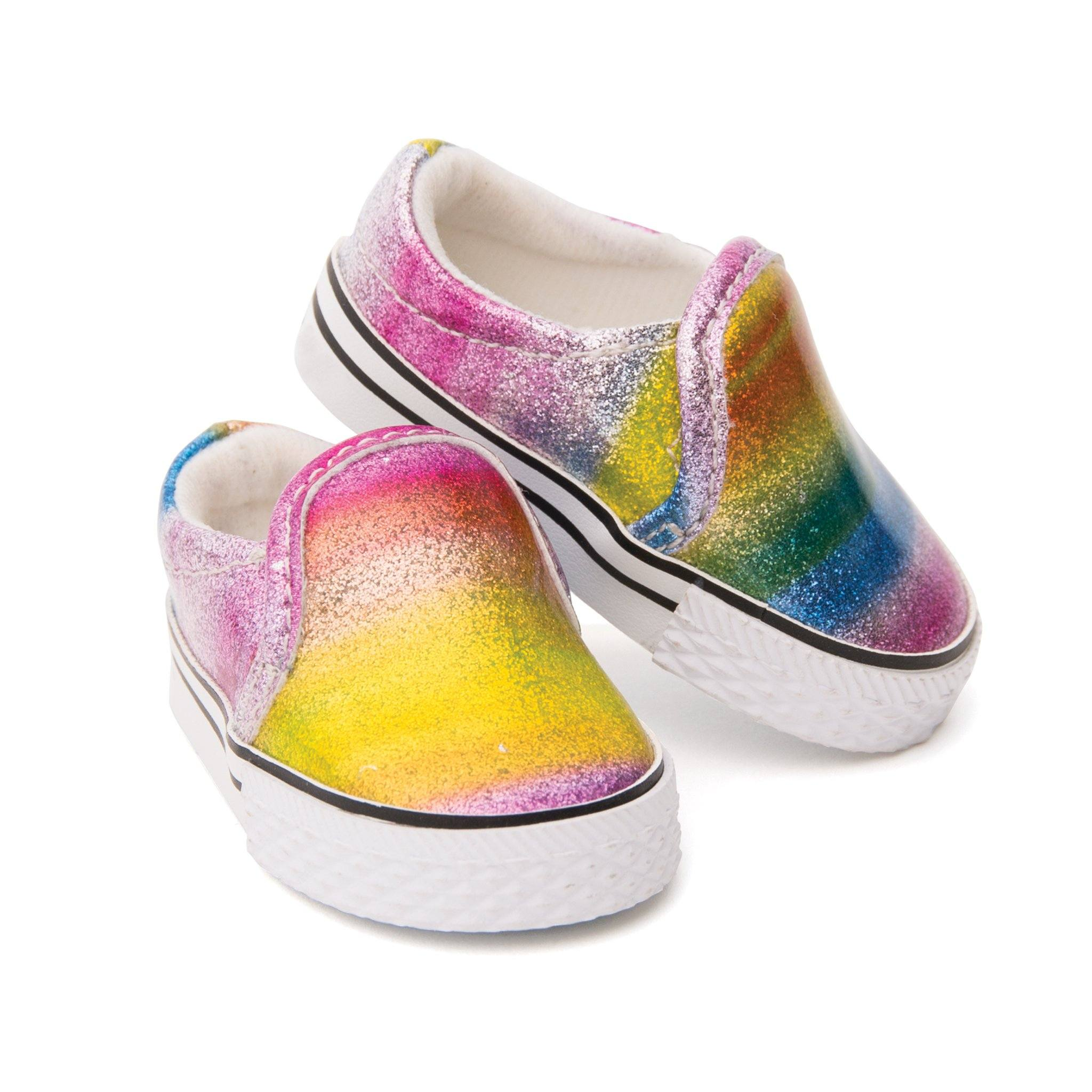 Colourful slip-on shoes for 18 inch dolls.  Quality doll footwear by Maplelea.