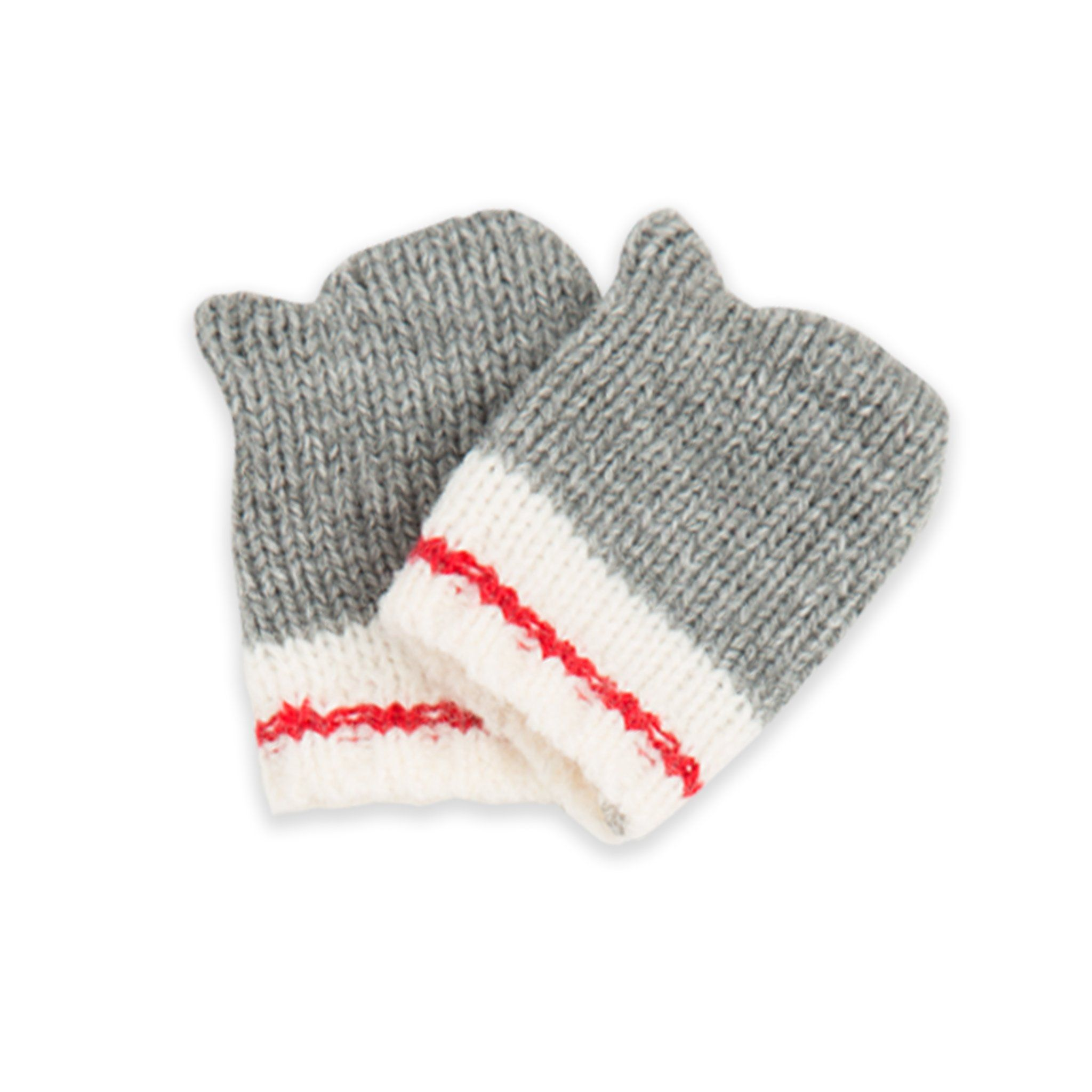 Northern Spirit knit grey mittens with white and red accent  fits all 18 inch dolls.