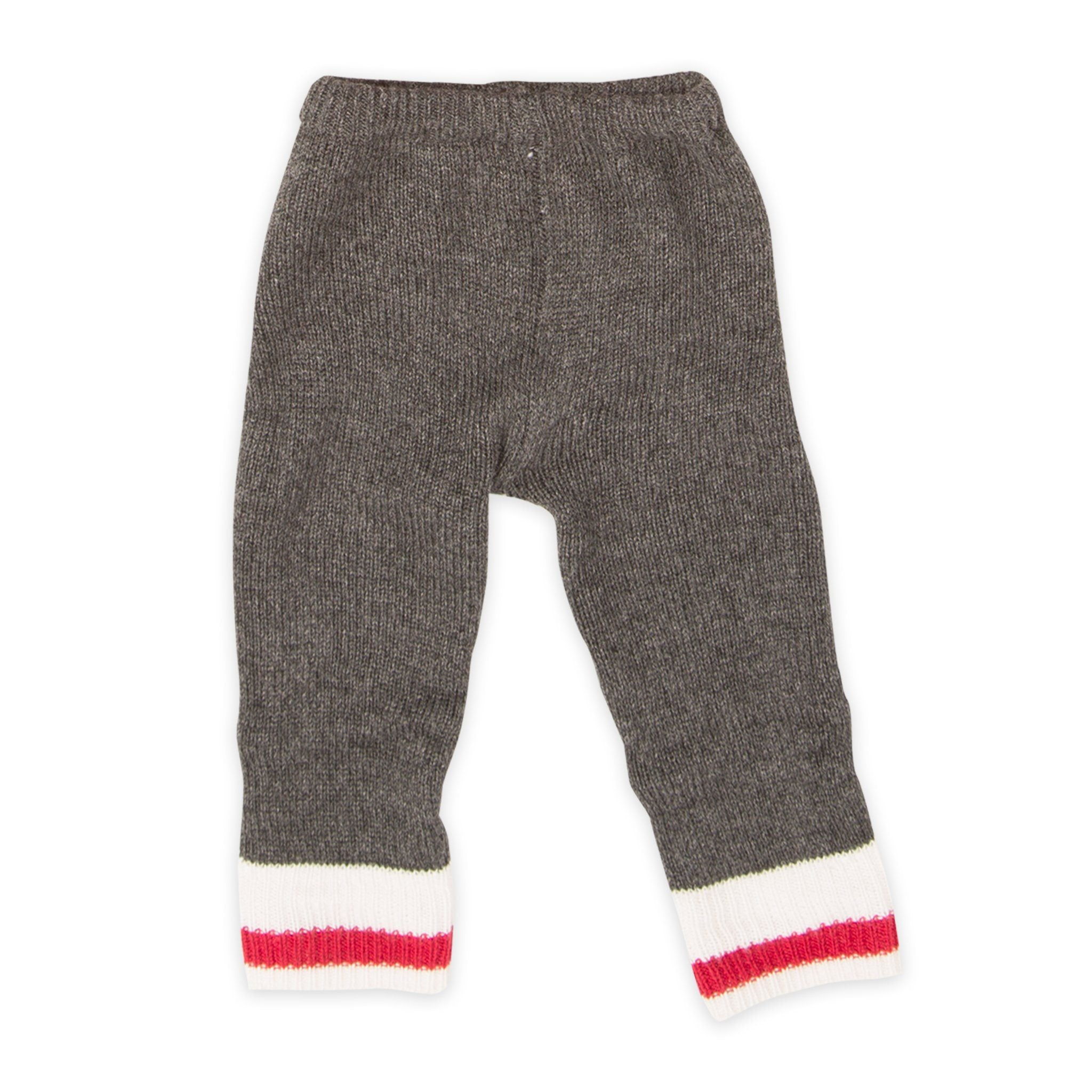 Northern Spirit red knit dark grey leggings with white and red cuff accent fits all 18 inch dolls.