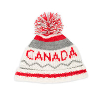 Northern Spirit knit grey, white and red CANADA knit toque fits all 18 inch dolls.