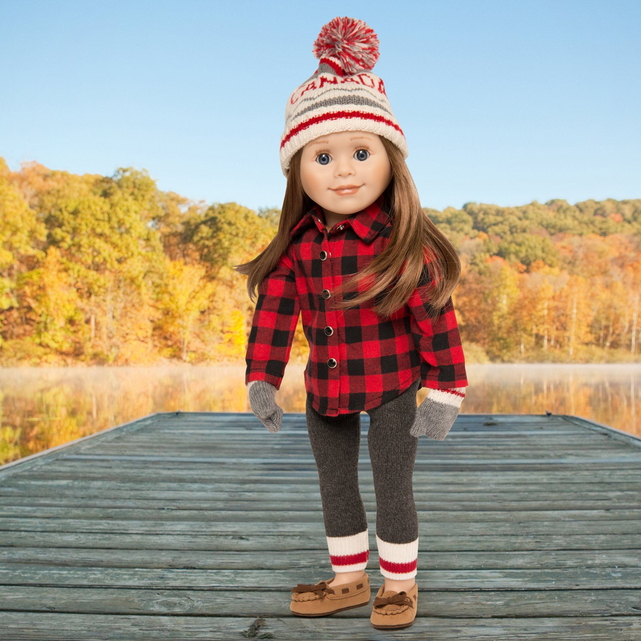 "Northern Spirit red black plaid shirt with knit grey leggings, grey mittens CANADA toque on 18"" doll"