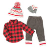 Buffalo plaid shirt with knit leggings, grey mittens and CANADA knit toque for 18 inch doll